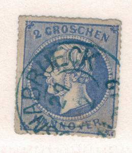 Hanover (German State) Stamp Scott #28, Used, Partial Town Cancel - Free U.S....