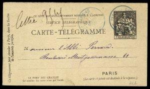 fr024 France Service Telegraphique Carte-Telegramme 40 centimes used