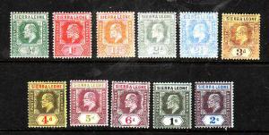 Sierra Leone-Sc#90-100-unused hinged short set to the 2sh-KEVII-1907-10-
