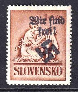 SLOVAKIA 42 WIR SIND FREI OVERPRINT OG NH U/M f/VF BEAUTIFUL GUM