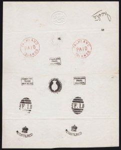 FALKLAND ISLANDS : Amazing 1869-76 Frank HANDSTAMP Specimen SHEET !!!