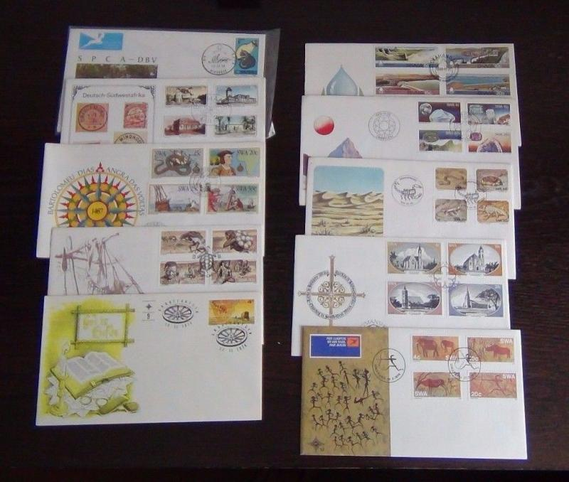 South West Africa 1972 1982 FDC x 10 Gemstones Dams Animals Cat Houses Churches