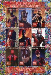 Chad 2018 CTO Daredevil Stan Lee Superheroes 9v M/S Comics Movies Stamps