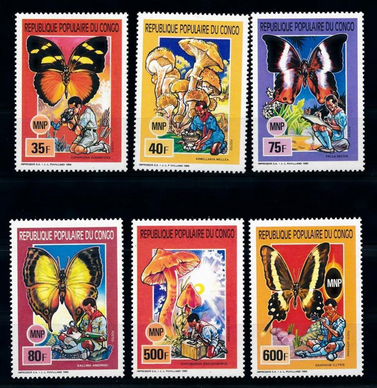 [75585] Congo Brazzaville 1991 Scouting Butterflies Mushrooms  MNH