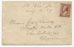 VA Cover US Scott #210 McRae's, VA DPO August 4, 1887 Manuscript