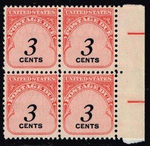 US STAMP #J91 3C 1959 Postage Due Stamp MNH BLK OF 4