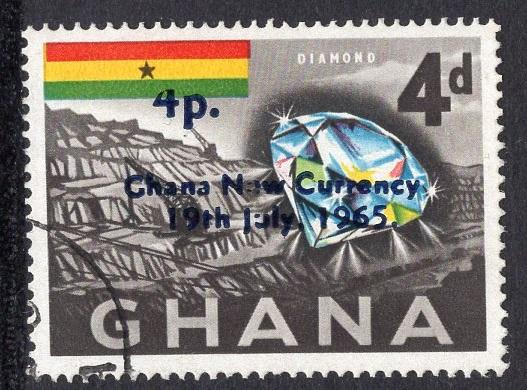 Ghana   #219  1965 new currency   used  4p. on 4d. diamond