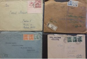Czechoslovakia 4 covers 1948 - 1947 plus others 2 Airmail to UK Postal History