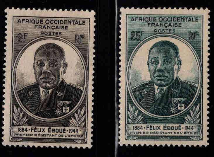 French West Africa Scott 15-16 MH* 1944 stamp set
