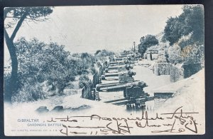 1902 Gibraltar RPPC Postcard cover To Strasbourg Austria Gardiners Battery