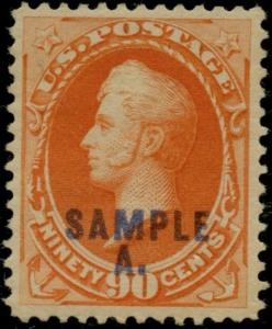 #191S 90¢ ORANGE  XF OG LH GEM SPEC. PRINTED OVERPRINTED IN BLUE SAMPLE A BP8721