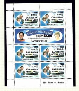 Montserrat 578-79 MNH 1985 overprinted sheet for Royal Visit