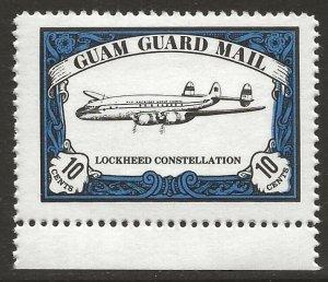 Guam Guard Mail 1981 Local Post LOCKHEED CONSTELLATION Airplane VF-NH, dull gum