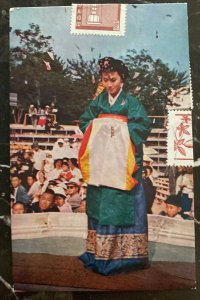 1964 Korea Color Picture Postcard Cover To Hong Kong Bride Costume