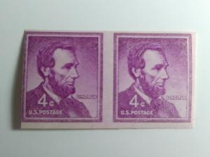 SCOTT # 1058 A IMPERFERATED LINCOLN RARE GEM STRIP OF 2 MINT NEVER HINGED