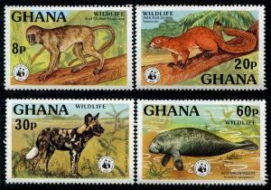 HERRICKSTAMP GHANA Sc.# 621-24 W.W.F. Animals Stamps Mint NH