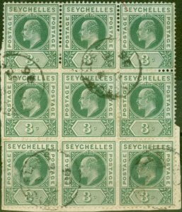 Seychelles 1903 3c Dull Green SG47a Dented Frame ina Fine Used Block of 9 on ...