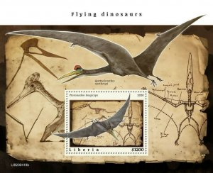 YEAR 2020/10- LIBERIA- FLYING DINOSAURS         1V complet set    MNH ** T