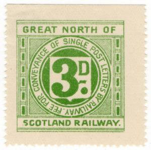 (I.B) Great North of Scotland Railway : Letter Stamp 3d