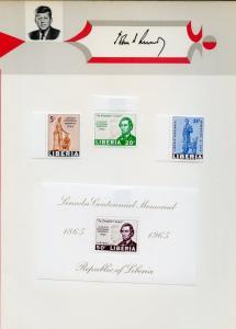 LIBERIA SET & SOUVENIR SHEET PERF & IMPERF MEMORIAL LINCOLN & JOHN F. KENNEDY LH