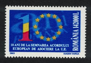 Romania 10th Anniversary of Signing of European Agreement 2003 MNH SG#6336