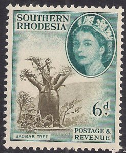 Southern Rhodesia 1953 QE2 6d Baobab Tree Umm SG 84 ( F563 )