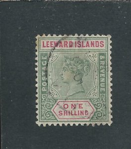 LEEWARD IS 1890 1s GREEN & CARMINE FU SG 7 CAT £60