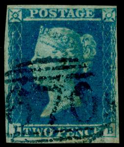 SG14, 2d blue, FINE USED. Cat £1000. BLUE POSTMARK.
