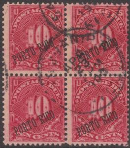 PUERTO RICO #J3 USED BLOCK OF 4 BN5777