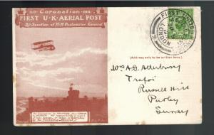 1911 England First Flight Aerial Post Coronation Postcard Cover Red to Surrey