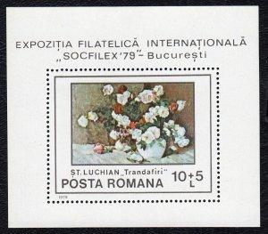Romania 1979 Flower Paintings Mint MNH Miniature Sheet SC B445