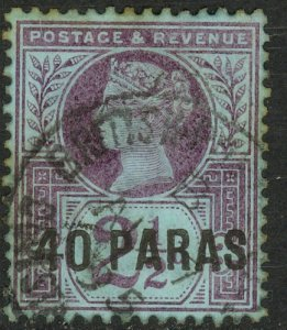 GREAT BRITAIN OFFICES IN TURKEY 1887 QV 40pa on 2 1/2d Portrait Issue Sc 4 VFU