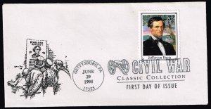 US STAMP BOB #2975f 1995 32c Civil War: Jefferson Davis FDC