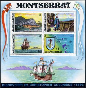 Montserrat 295a,MNH.Michel Bl.3. Discovery by Columbus,450th Ann.1973.Ship,Map,