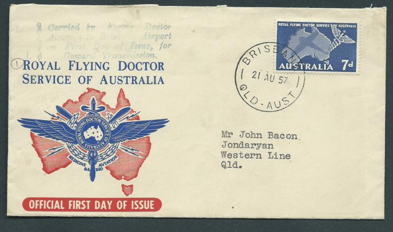 Australia 1957 Flown Cover  Flying Doctor service aircraf...
