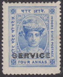 INDIA INDORE 1904-6 Official 4a SGS6 fine mint hinged......................54792