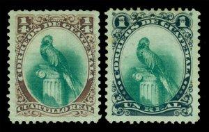 GUATEMALA 1879  Parrot  set  ¼c -1c  Scott # 15-16  UNUSED VF
