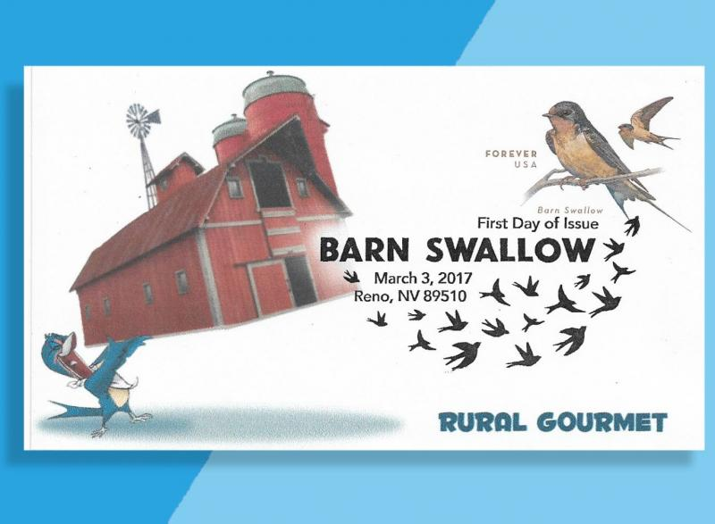Barn Swallow FDC from Bennett Cachetoons Shows Bird's Big Appetite!