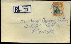 Gold Coast 1954 QEII 6d Odumasi Ashanti to Kumasi Envelope
