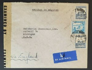 1945 Palestine to Detroit Michigan Reichhold Chemicals Censorship Air Mail Cover
