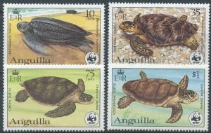 ANGUILLA Sc#537-40 1983 WWF Sea Turtles Complete Set Mint NH