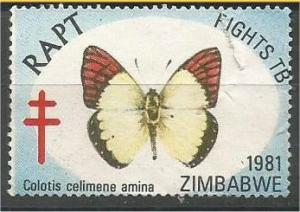 ZIMBABWE, 1981, RAPT stamp, Fights TB, Butterflies