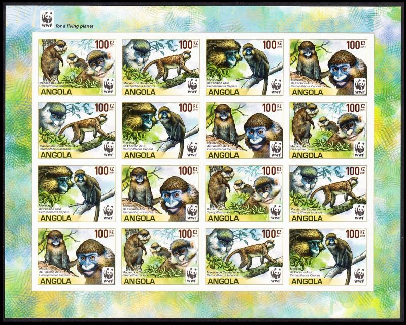 Angola WWF Monkeys Guenons Sheetlet of 4 sets /16v imperforated