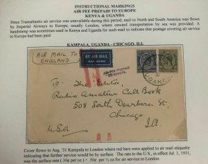 1931 Kampala Uganda Early Airmail Cover To Chicago IL USA Via London England