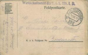 Austria Soldier's Free Mail 1917 K.u.k. Feldpostamt, 296b Feldpostkarte Postc...