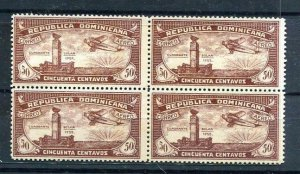 Dominican Republic   1931 Sanabria 24 and 24a  Block of 4 Error Variety MNH 8956