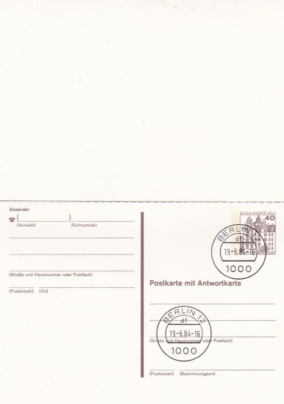 West Berlin 40pfg Prepaid Postcard with Reply FDC Unused VGC