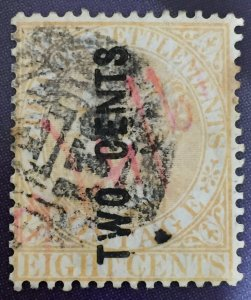 Malaya Straits Settlements 1883 QV 2c on 8c Used Pmk B-172 SG#56 wide N M2178