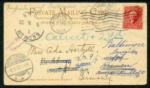 U.S. Scott 301 George Washington On 1903 Multi-Forwarded Private Mailing Card
