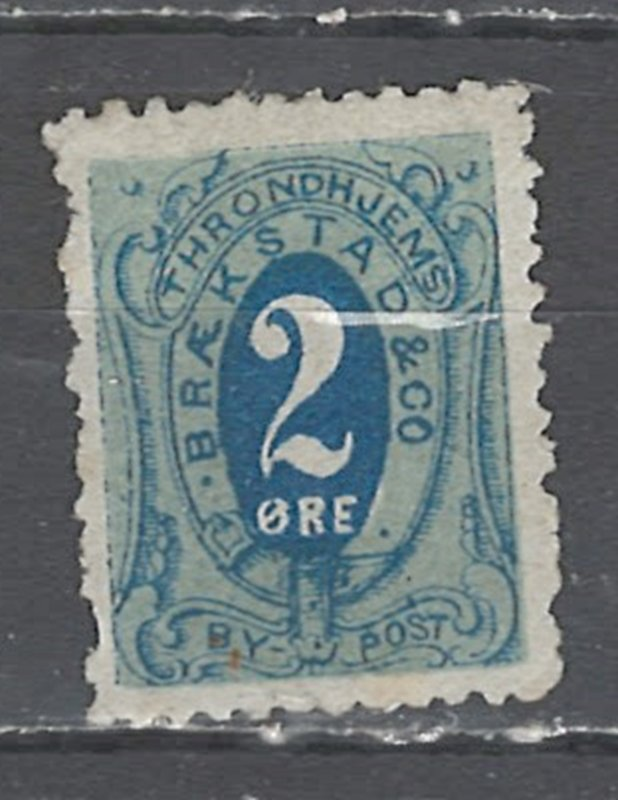 COLLECTION LOT # 2552 NORWAY TRONDHEIM LOCAL POST STAMP 1872